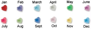 Heart Birthstone Charms